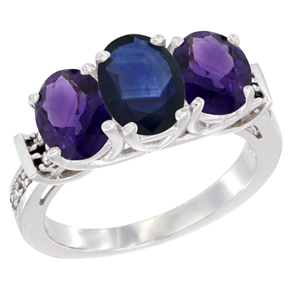 14K White Gold Natural Blue Sapphire & Amethyst Sides Ring 3-Stone Oval Diamond Accent, sizes 5 - 10