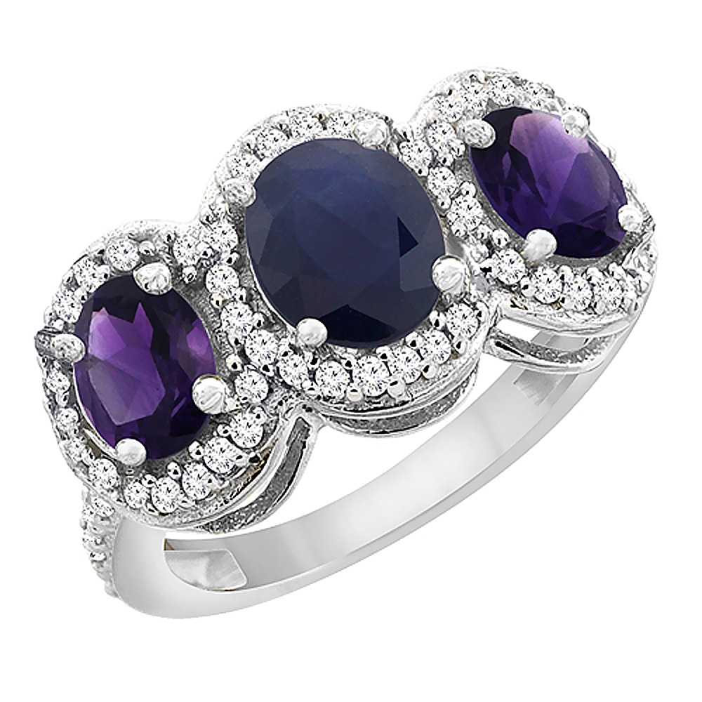 14K White Gold Natural Blue Sapphire & Amethyst 3-Stone Ring Oval Diamond Accent, sizes 5 - 10