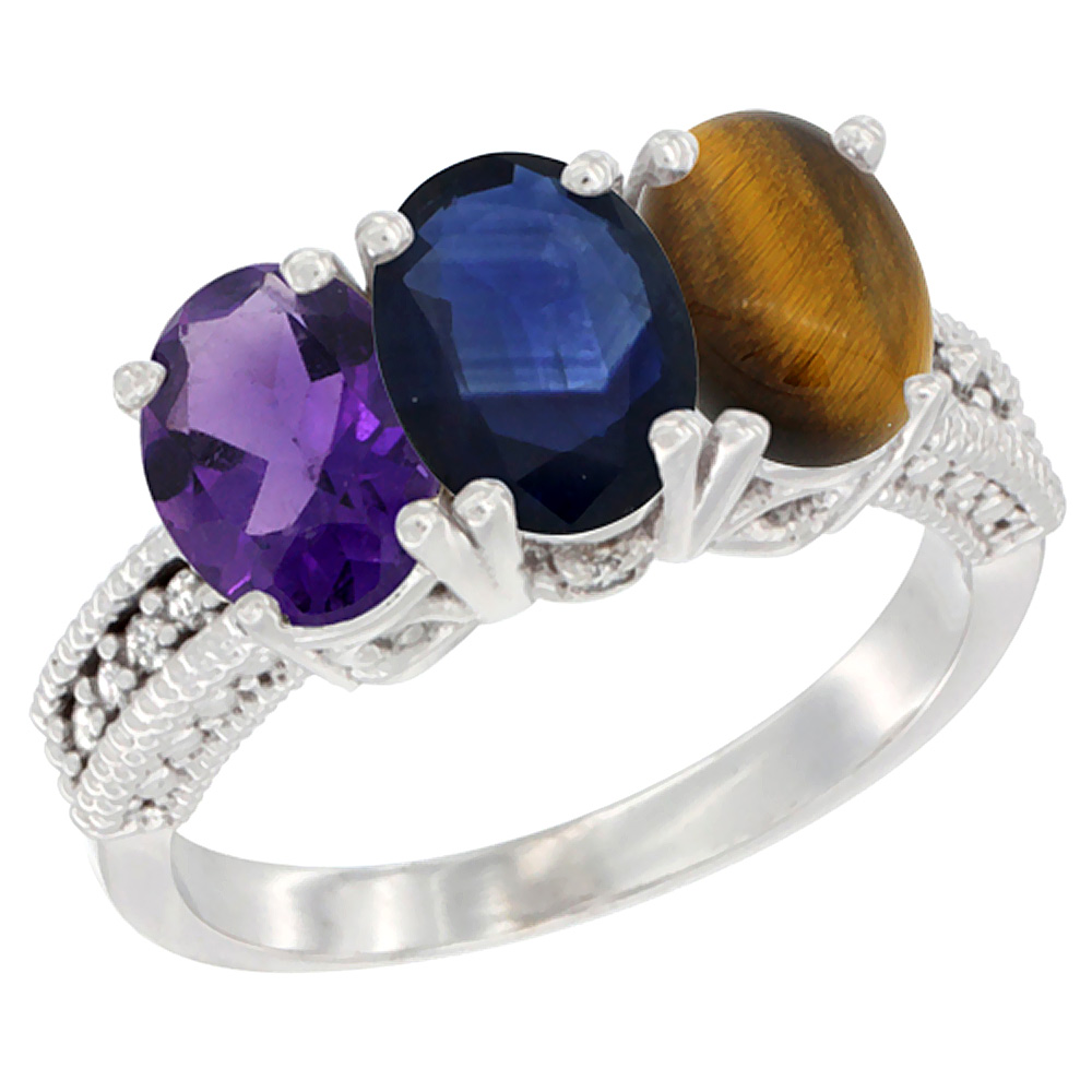 10K White Gold Natural Amethyst, Blue Sapphire & Tiger Eye Ring 3-Stone Oval 7x5 mm Diamond Accent, sizes 5 - 10