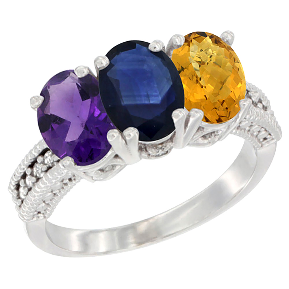 10K White Gold Natural Amethyst, Blue Sapphire & Whisky Quartz Ring 3-Stone Oval 7x5 mm Diamond Accent, sizes 5 - 10