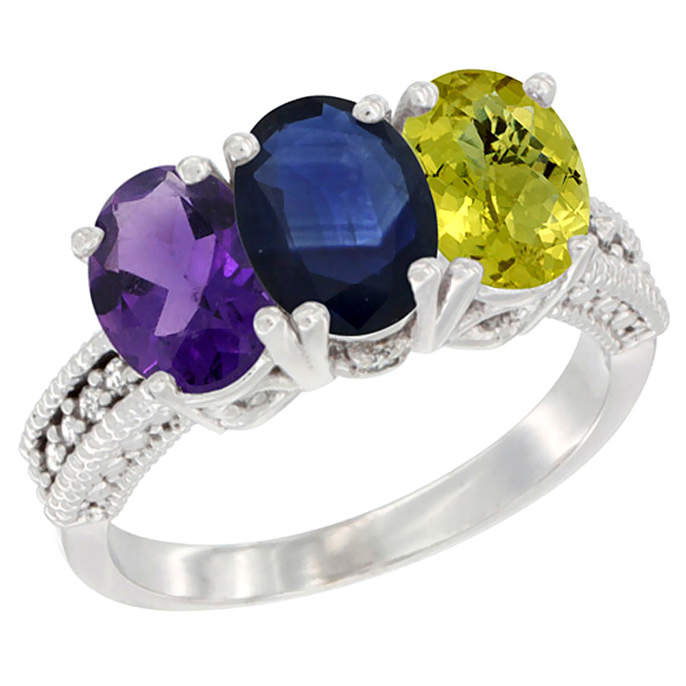 14K White Gold Natural Amethyst, Blue Sapphire & Lemon Quartz Ring 3-Stone 7x5 mm Oval Diamond Accent, sizes 5 - 10
