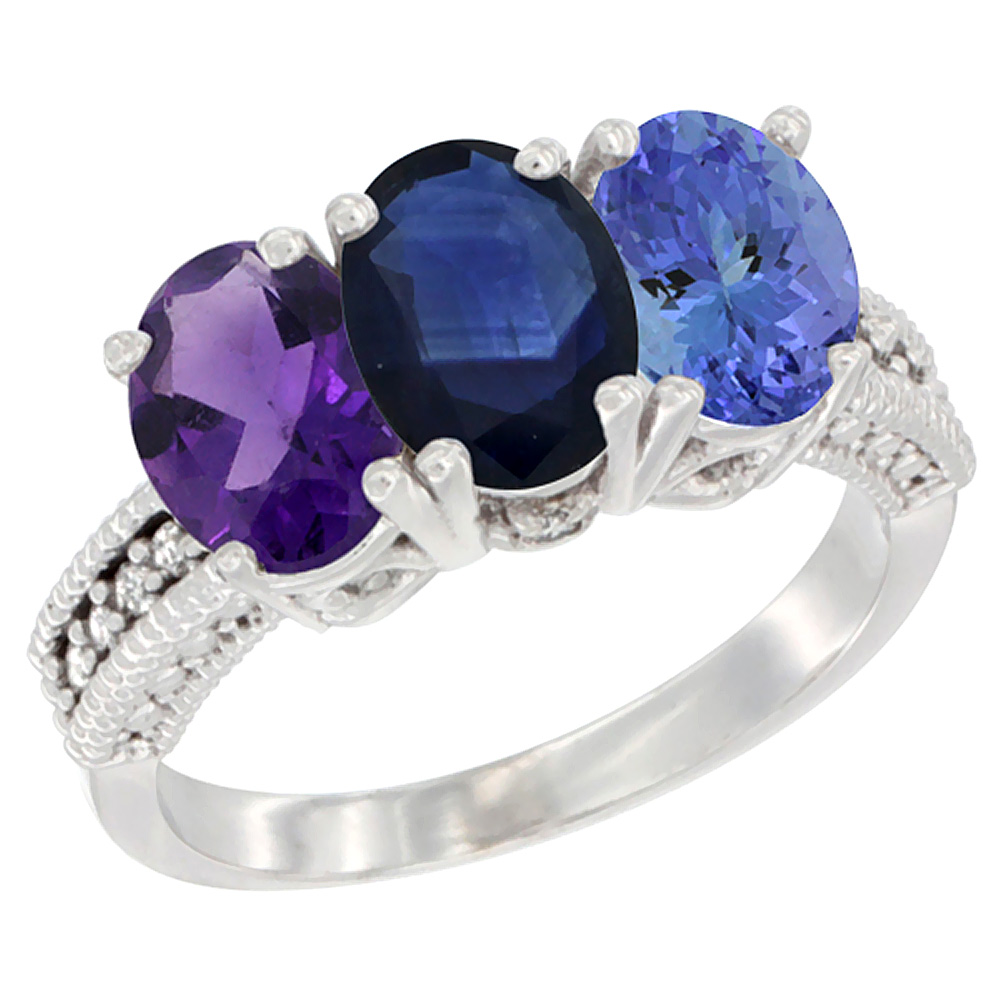 14K White Gold Natural Amethyst, Blue Sapphire & Tanzanite Ring 3-Stone 7x5 mm Oval Diamond Accent, sizes 5 - 10