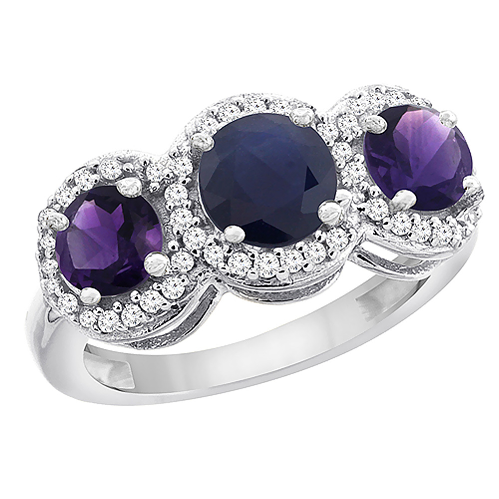 14K White Gold Natural High Quality Blue Sapphire & Amethyst Sides Round 3-stone Ring Diamond Accents, sizes 5 - 10