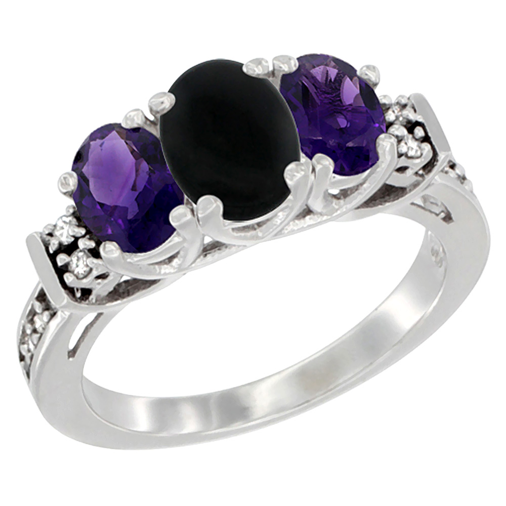 14K White Gold Natural Black Onyx & Amethyst Ring 3-Stone Oval Diamond Accent, sizes 5-10
