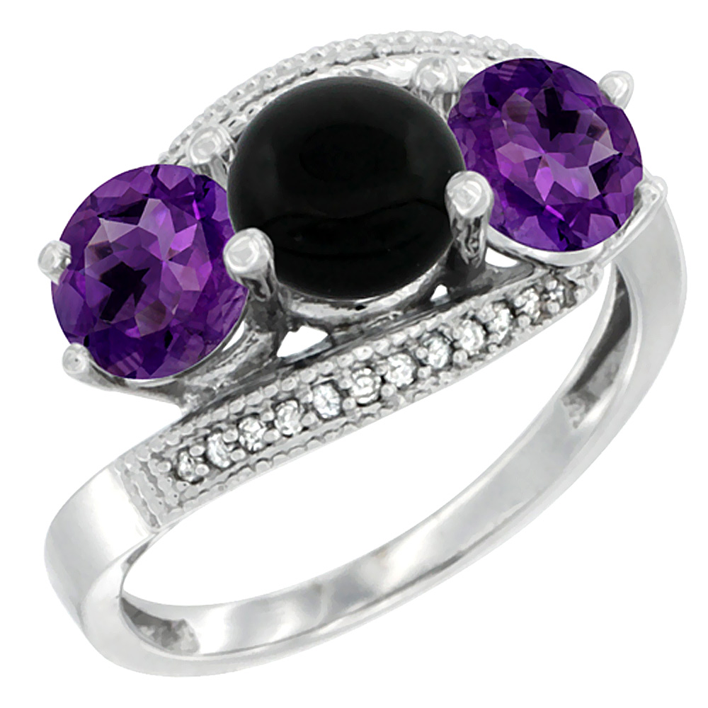 10K White Gold Natural Black Onyx & Amethyst Sides 3 stone Ring Round 6mm Diamond Accent, sizes 5 - 10