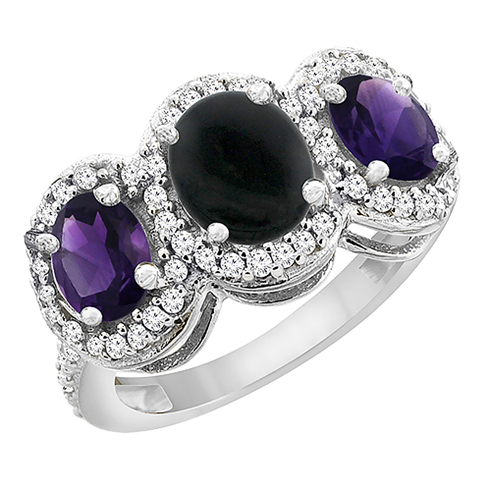 14K White Gold Natural Black Onyx & Amethyst 3-Stone Ring Oval Diamond Accent, sizes 5 - 10