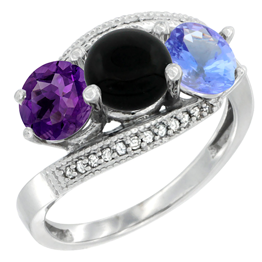 14K White Gold Natural Amethyst, Black Onyx & Tanzanite 3 stone Ring Round 6mm Diamond Accent, sizes 5 - 10