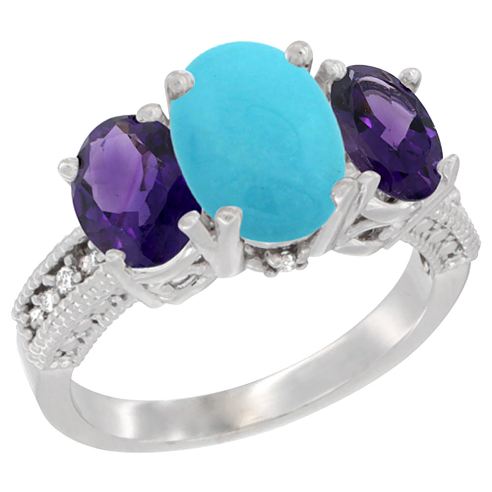 10K White Gold Natural Turquoise Ring Ladies 3-Stone Oval 8x6mm with Amethyst Sides Diamond Accent, sizes 5 - 10
