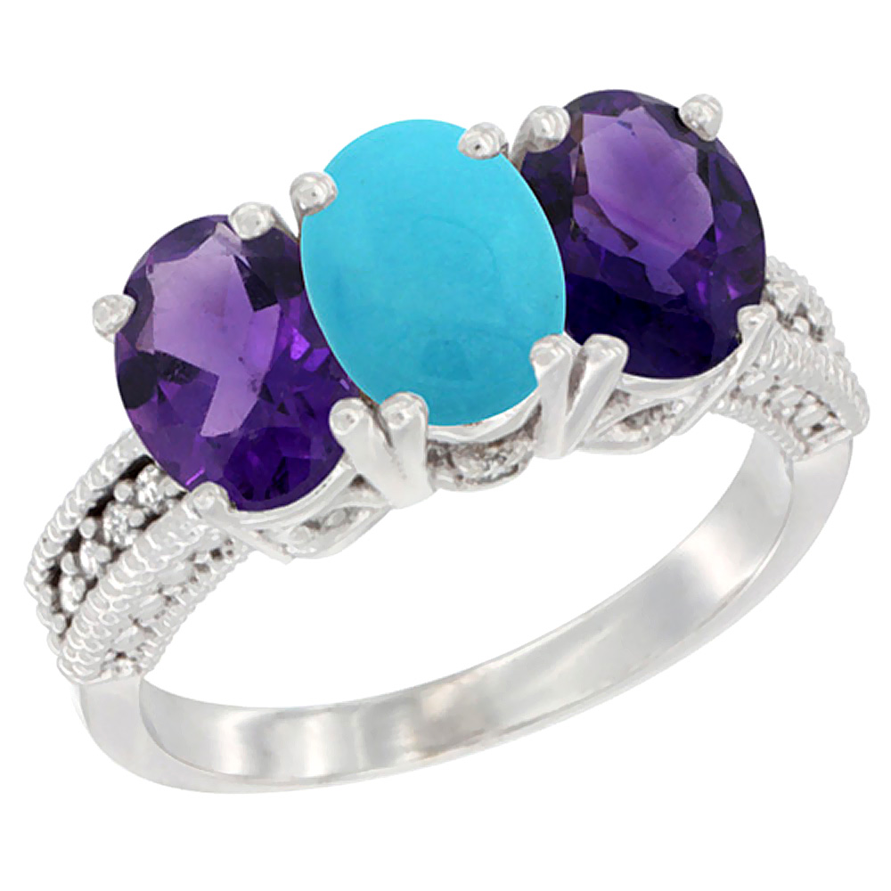 14K White Gold Natural Turquoise & Amethyst Ring 3-Stone 7x5 mm Oval Diamond Accent, sizes 5 - 10