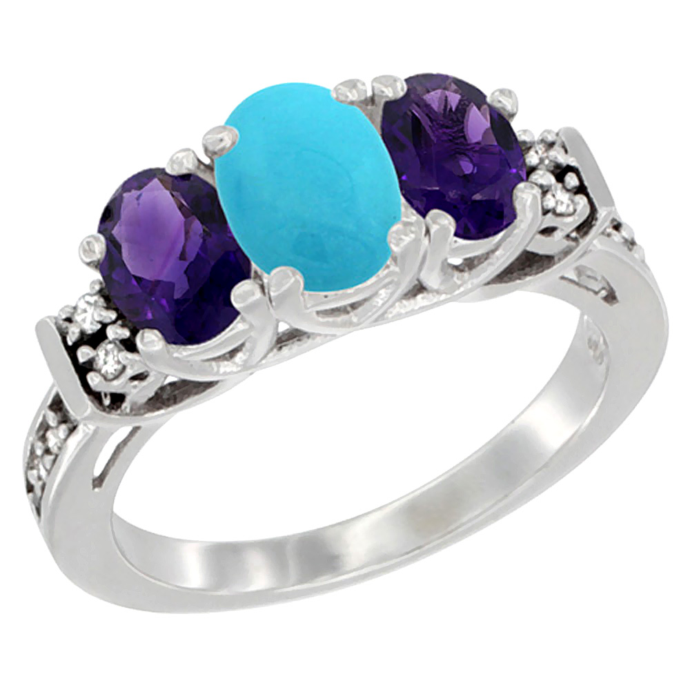 10K White Gold Natural Turquoise & Amethyst Ring 3-Stone Oval Diamond Accent, sizes 5-10