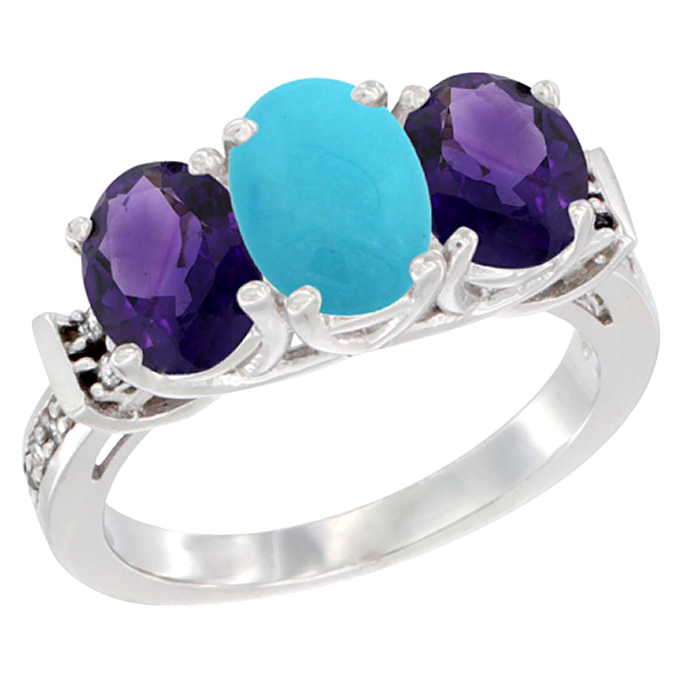 14K White Gold Natural Turquoise & Amethyst Sides Ring 3-Stone Oval Diamond Accent, sizes 5 - 10