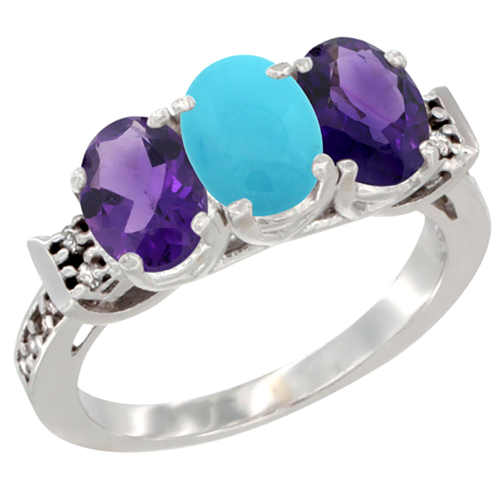 14K White Gold Natural Turquoise & Amethyst Sides Ring 3-Stone 7x5 mm Oval Diamond Accent, sizes 5 - 10