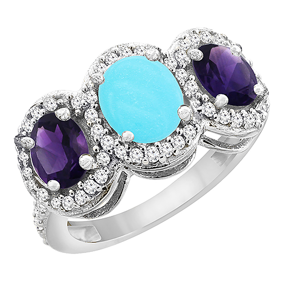 14K White Gold Natural Turquoise & Amethyst 3-Stone Ring Oval Diamond Accent, sizes 5 - 10
