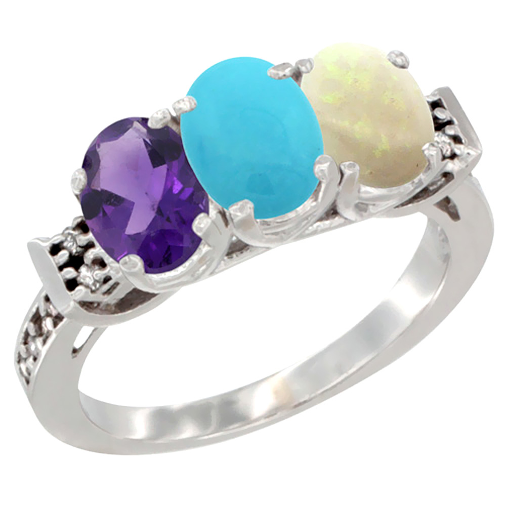 10K White Gold Natural Amethyst, Turquoise & Opal Ring 3-Stone Oval 7x5 mm Diamond Accent, sizes 5 - 10