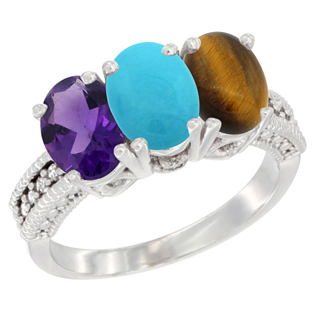 14K White Gold Natural Amethyst, Turquoise & Tiger Eye Ring 3-Stone 7x5 mm Oval Diamond Accent, sizes 5 - 10