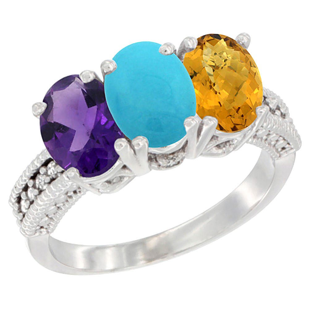 14K White Gold Natural Amethyst, Turquoise & Whisky Quartz Ring 3-Stone 7x5 mm Oval Diamond Accent, sizes 5 - 10
