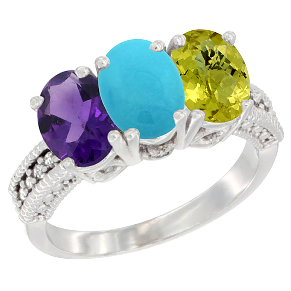 10K White Gold Natural Amethyst, Turquoise & Lemon Quartz Ring 3-Stone Oval 7x5 mm Diamond Accent, sizes 5 - 10