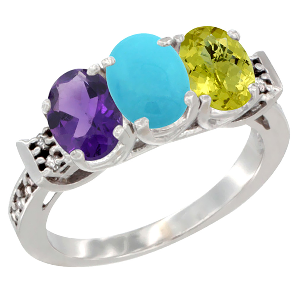 14K White Gold Natural Amethyst, Turquoise & Lemon Quartz Ring 3-Stone 7x5 mm Oval Diamond Accent, sizes 5 - 10