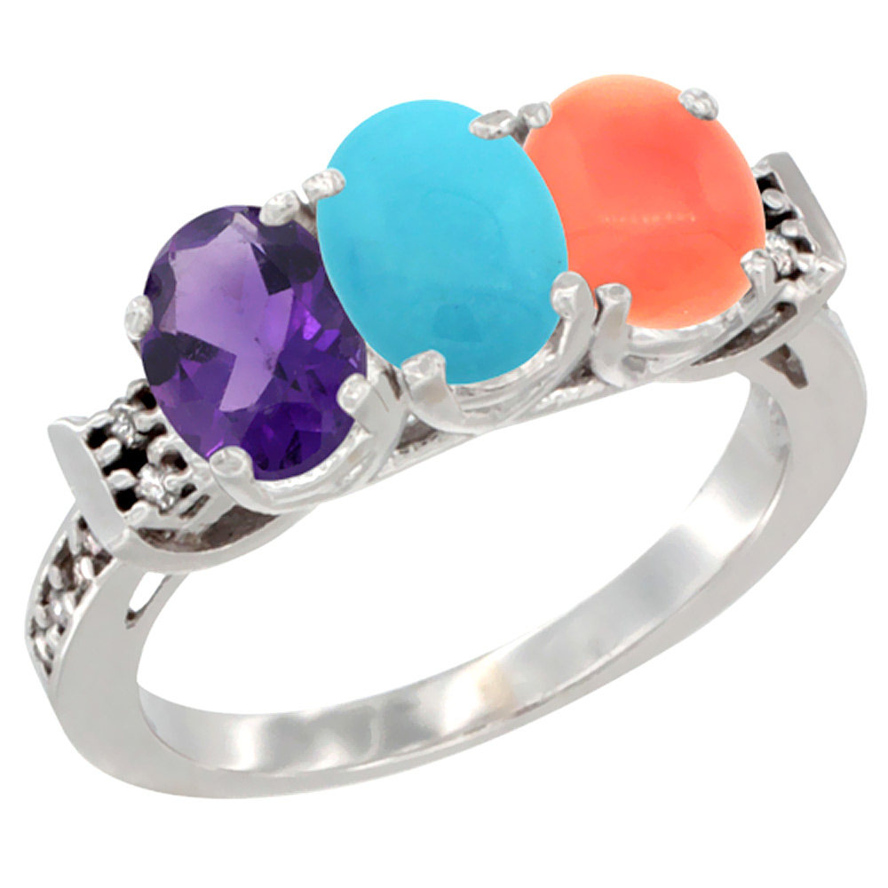 10K White Gold Natural Amethyst, Turquoise & Coral Ring 3-Stone Oval 7x5 mm Diamond Accent, sizes 5 - 10