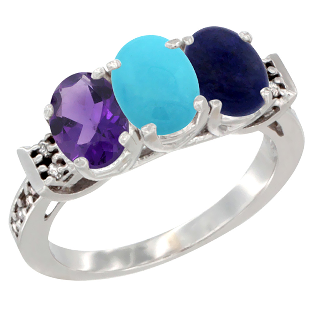 14K White Gold Natural Amethyst, Turquoise & Lapis Ring 3-Stone 7x5 mm Oval Diamond Accent, sizes 5 - 10