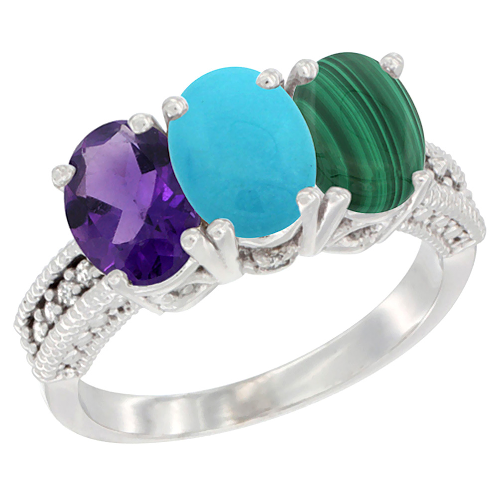 14K White Gold Natural Amethyst, Turquoise & Malachite Ring 3-Stone 7x5 mm Oval Diamond Accent, sizes 5 - 10