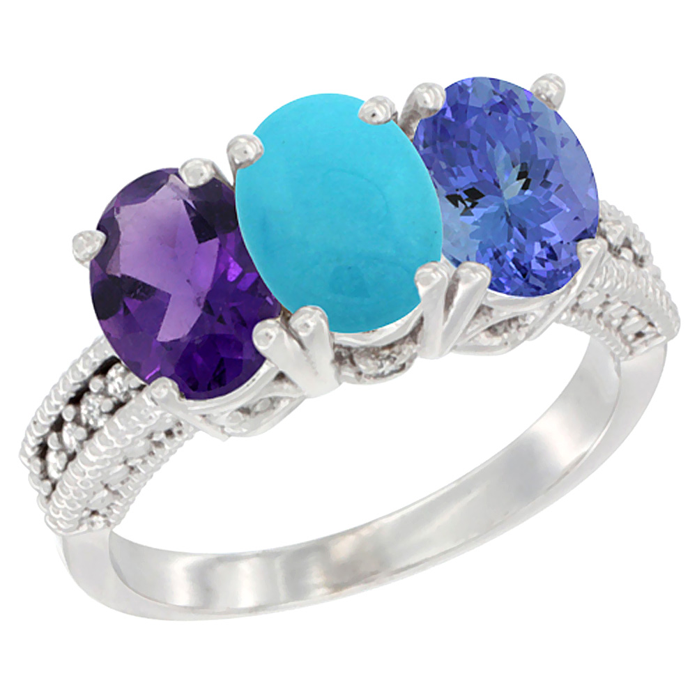 10K White Gold Natural Amethyst, Turquoise & Tanzanite Ring 3-Stone Oval 7x5 mm Diamond Accent, sizes 5 - 10