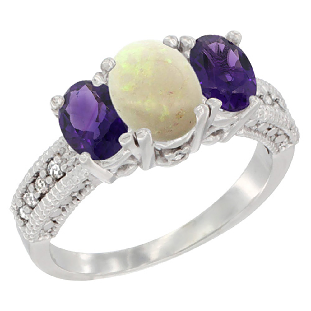 14K White Gold Diamond Natural Opal Ring Oval 3-stone with Amethyst, sizes 5 - 10