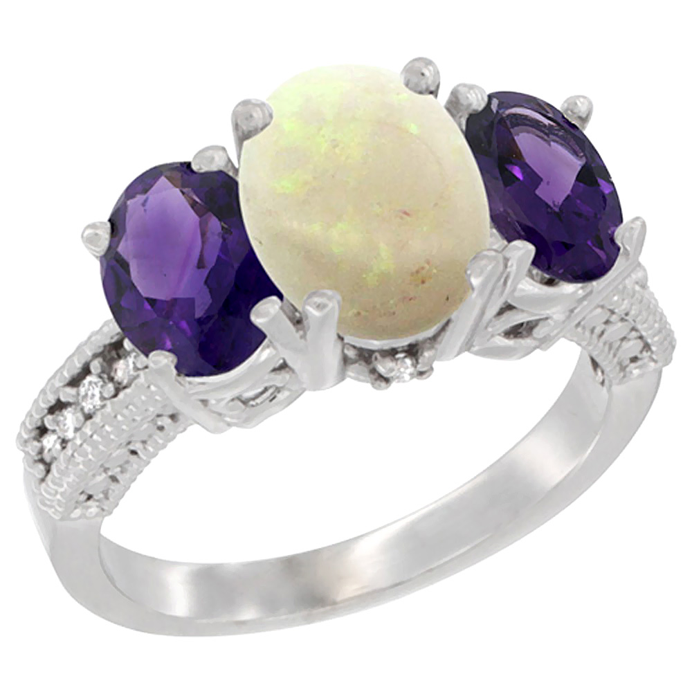 10K White Gold Natural Opal Ring Ladies 3-Stone Oval 8x6mm with Amethyst Sides Diamond Accent, sizes 5 - 10