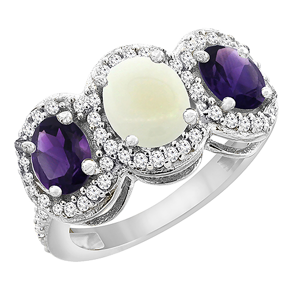 10K White Gold Natural Opal & Amethyst 3-Stone Ring Oval Diamond Accent, sizes 5 - 10