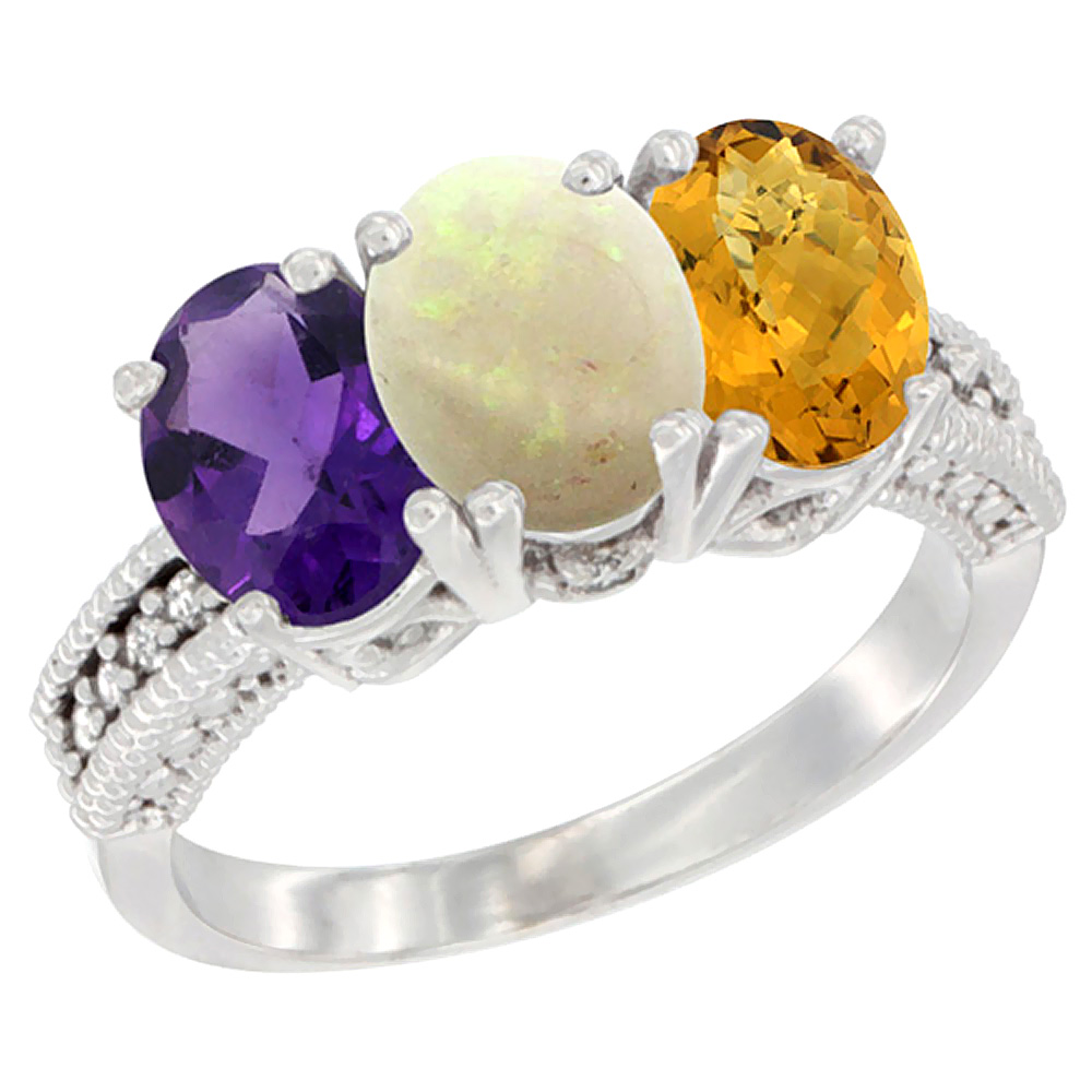 14K White Gold Natural Amethyst, Opal & Whisky Quartz Ring 3-Stone 7x5 mm Oval Diamond Accent, sizes 5 - 10