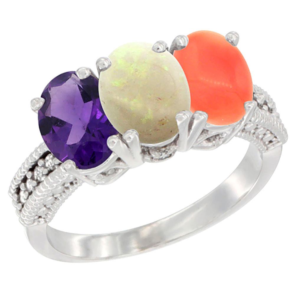 14K White Gold Natural Amethyst, Opal & Coral Ring 3-Stone 7x5 mm Oval Diamond Accent, sizes 5 - 10