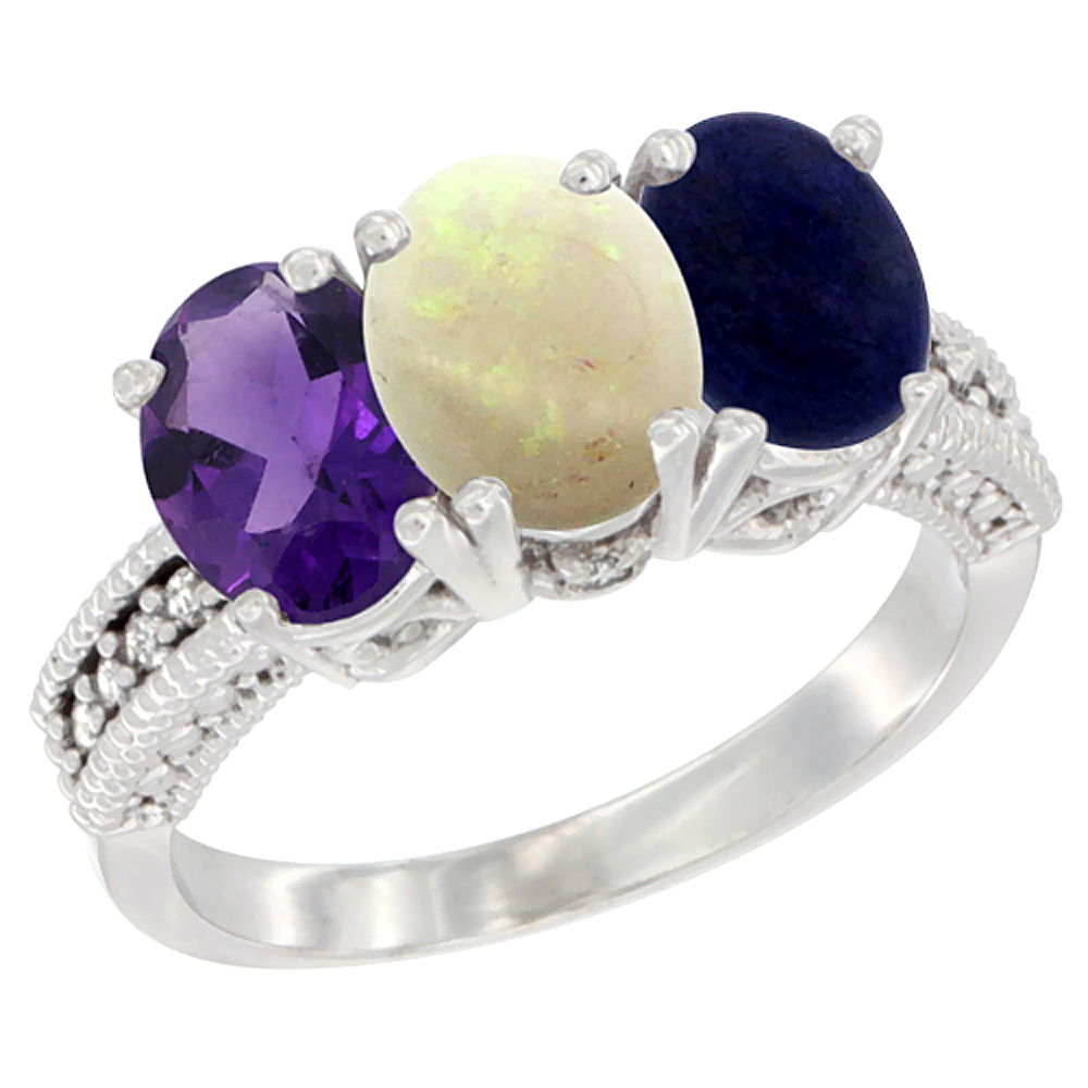 14K White Gold Natural Amethyst, Opal & Lapis Ring 3-Stone 7x5 mm Oval Diamond Accent, sizes 5 - 10