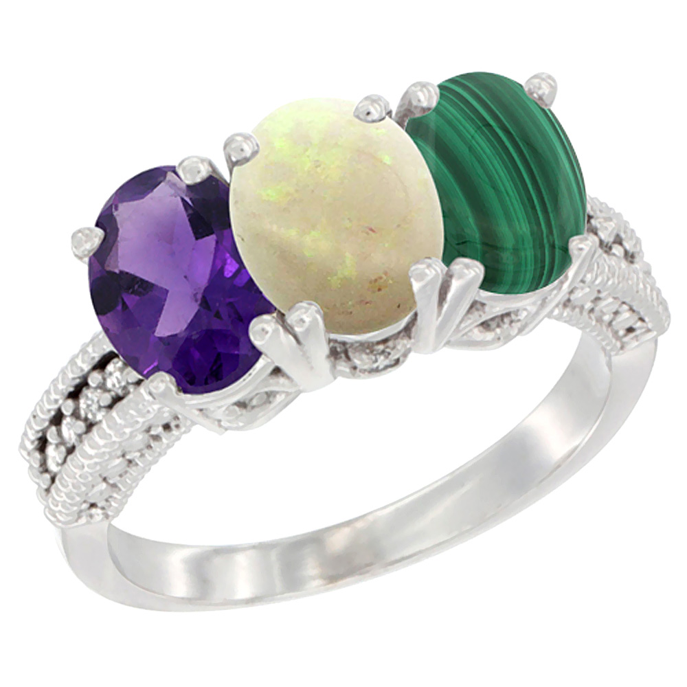 10K White Gold Natural Amethyst, Opal & Malachite Ring 3-Stone Oval 7x5 mm Diamond Accent, sizes 5 - 10