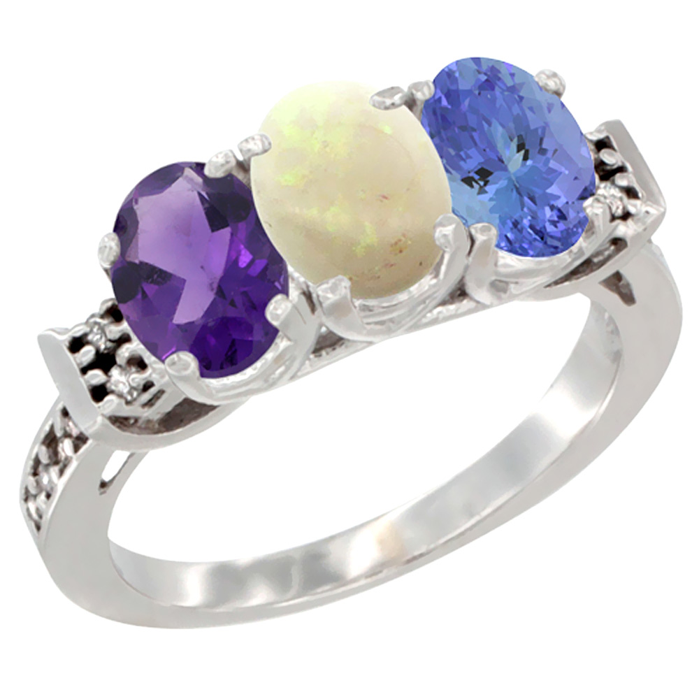 10K White Gold Natural Amethyst, Opal & Tanzanite Ring 3-Stone Oval 7x5 mm Diamond Accent, sizes 5 - 10