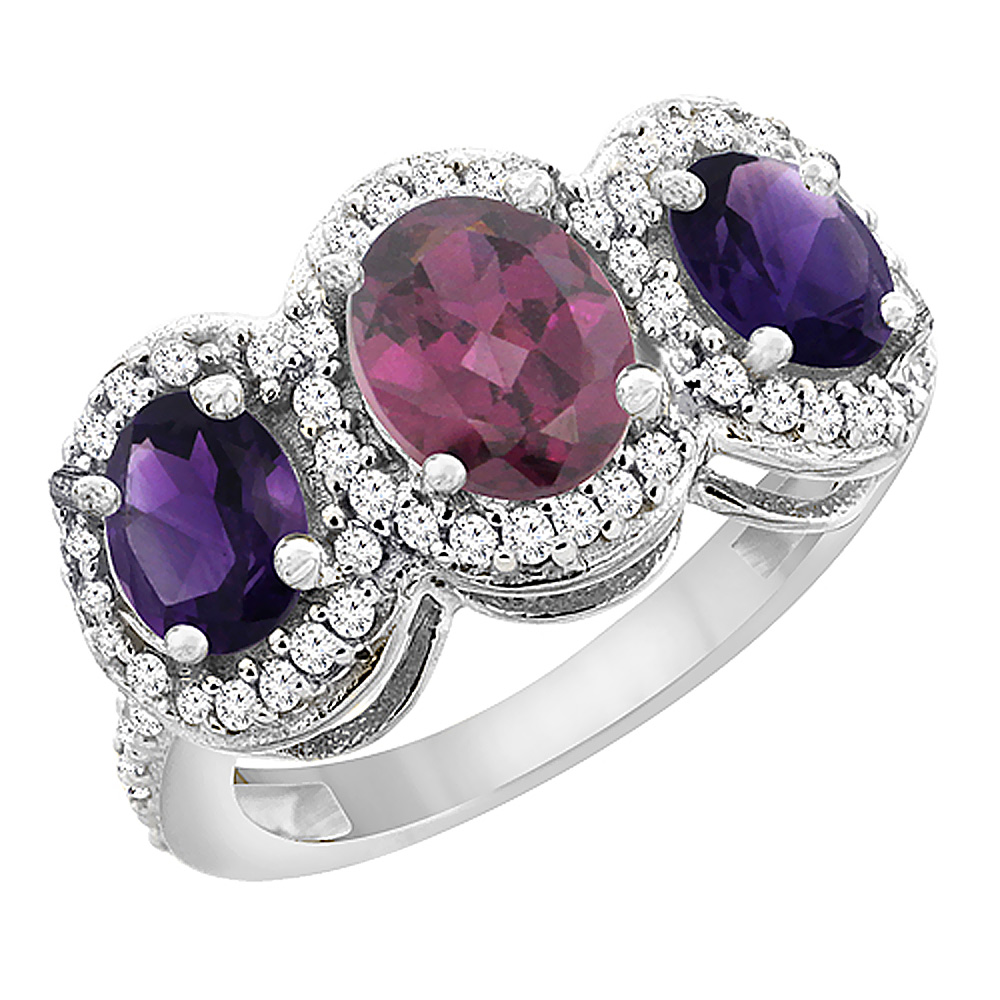 14K White Gold Natural Rhodolite & Amethyst 3-Stone Ring Oval Diamond Accent, sizes 5 - 10