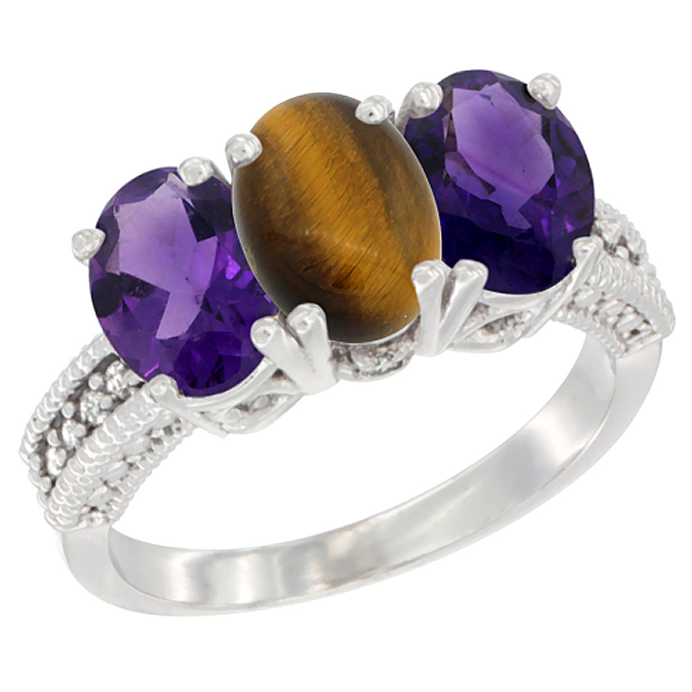 14K White Gold Natural Tiger Eye & Amethyst Ring 3-Stone 7x5 mm Oval Diamond Accent, sizes 5 - 10