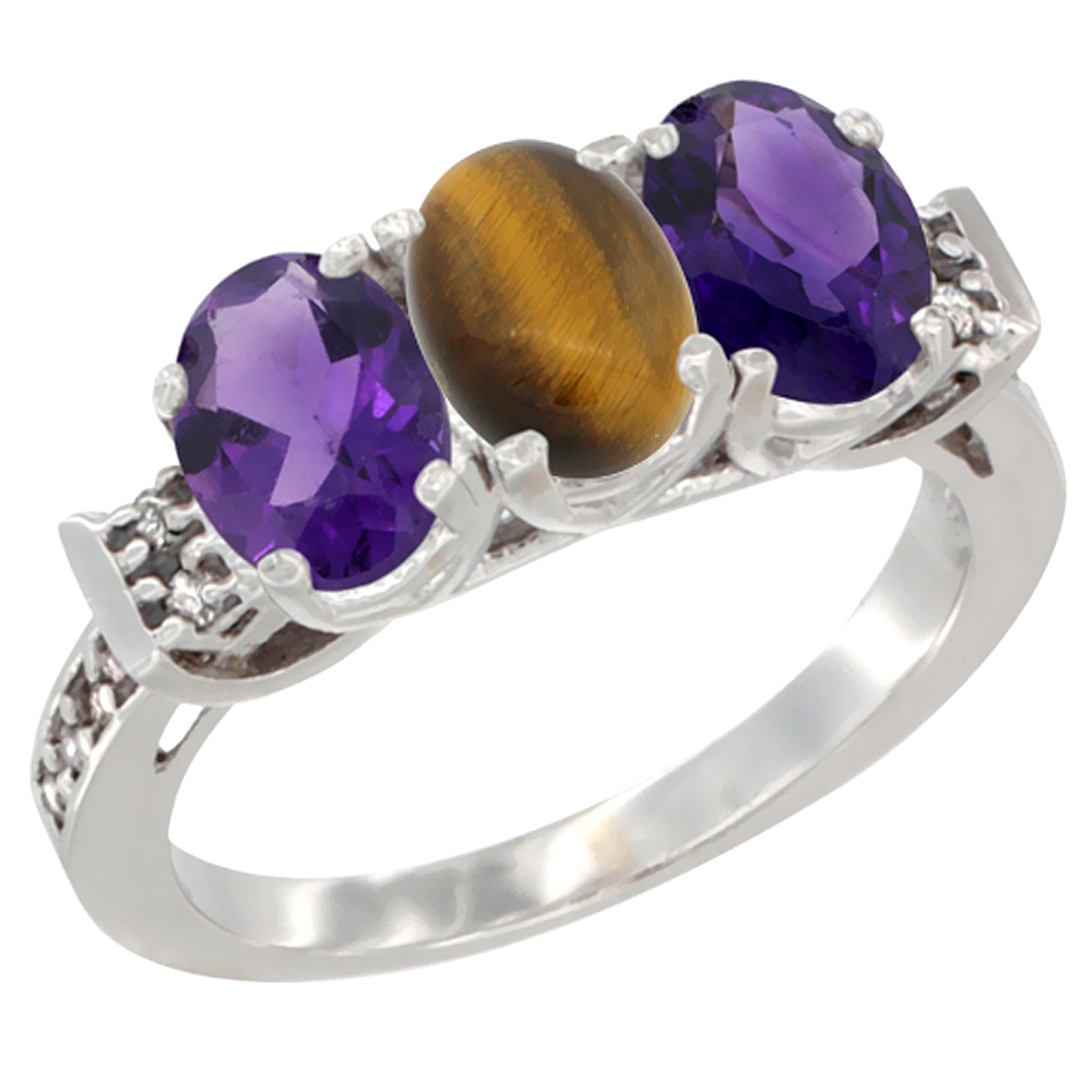 10K White Gold Natural Tiger Eye & Amethyst Sides Ring 3-Stone Oval 7x5 mm Diamond Accent, sizes 5 - 10