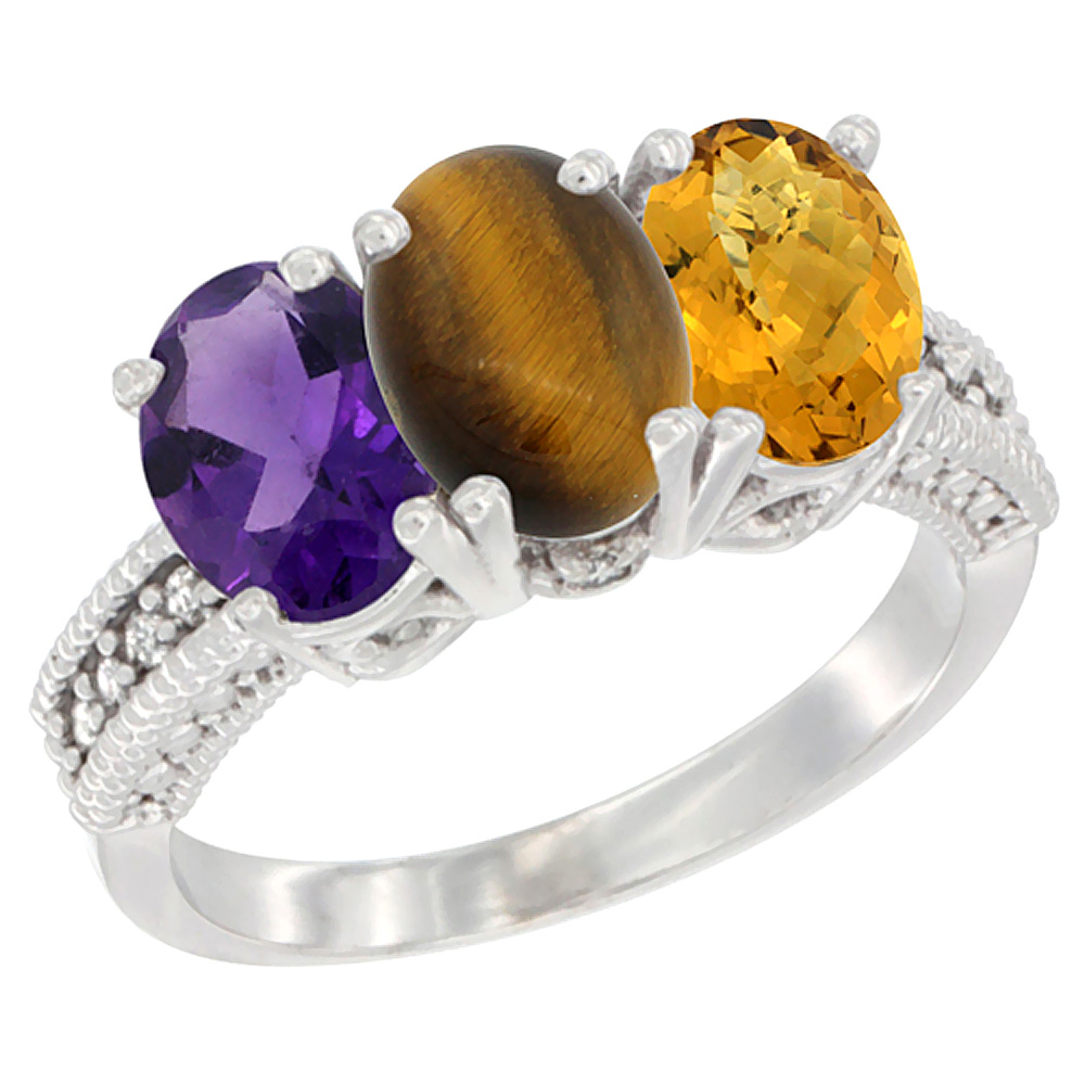 10K White Gold Natural Amethyst, Tiger Eye & Whisky Quartz Ring 3-Stone Oval 7x5 mm Diamond Accent, sizes 5 - 10