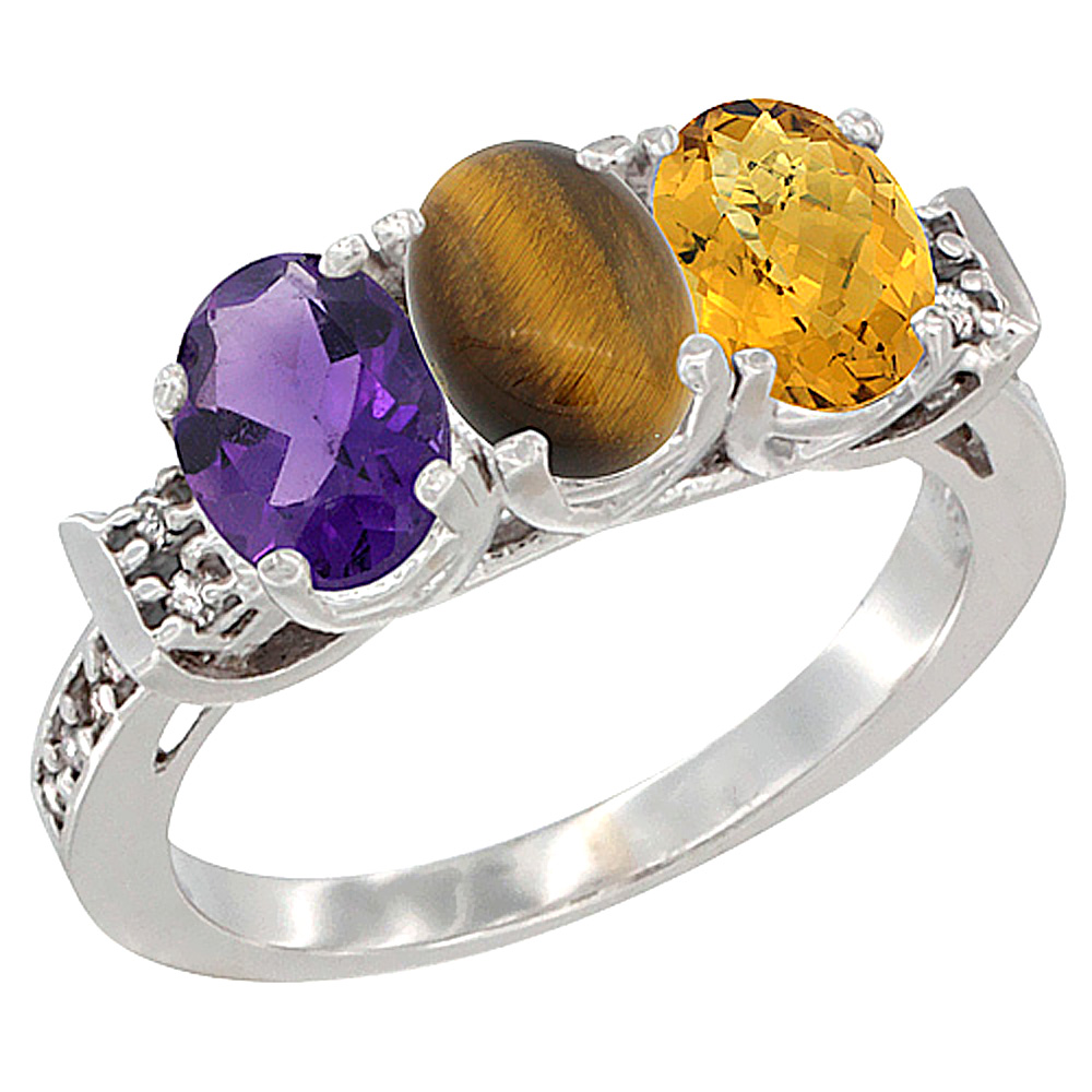 14K White Gold Natural Amethyst, Tiger Eye & Whisky Quartz Ring 3-Stone 7x5 mm Oval Diamond Accent, sizes 5 - 10