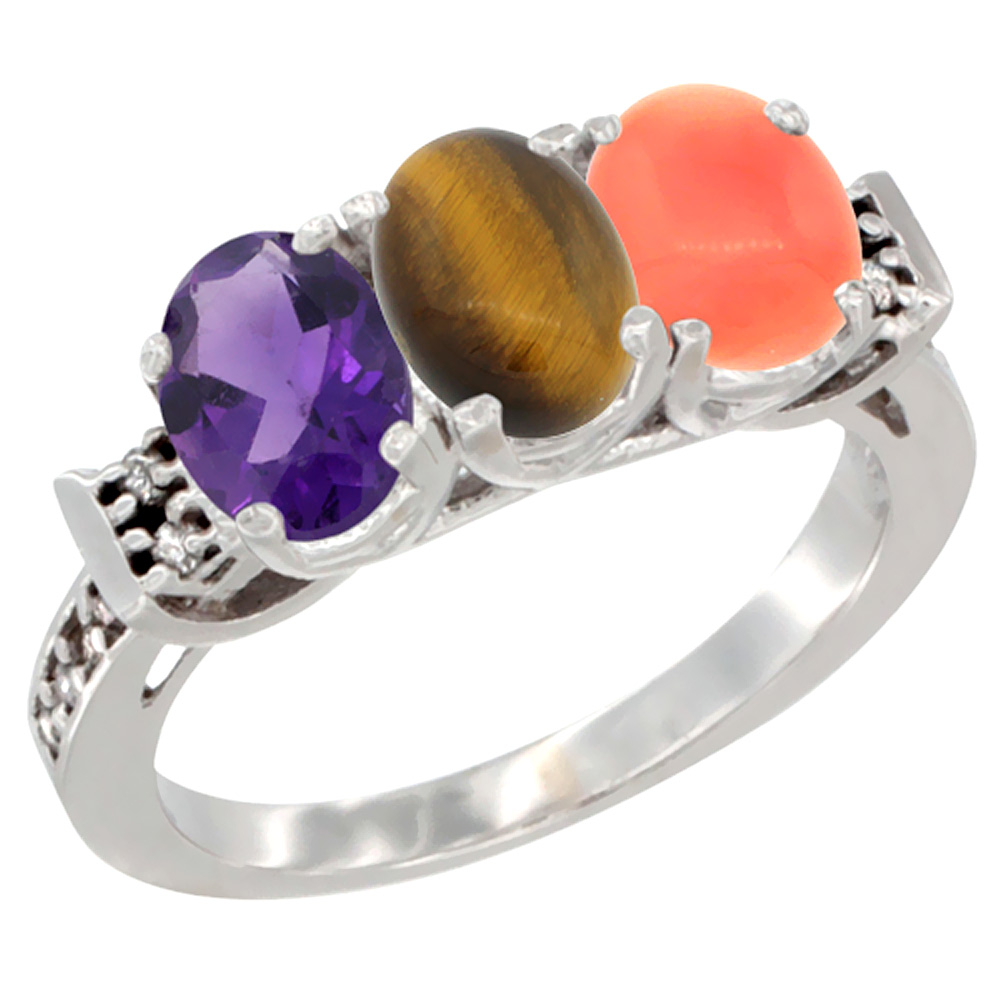 10K White Gold Natural Amethyst, Tiger Eye & Coral Ring 3-Stone Oval 7x5 mm Diamond Accent, sizes 5 - 10