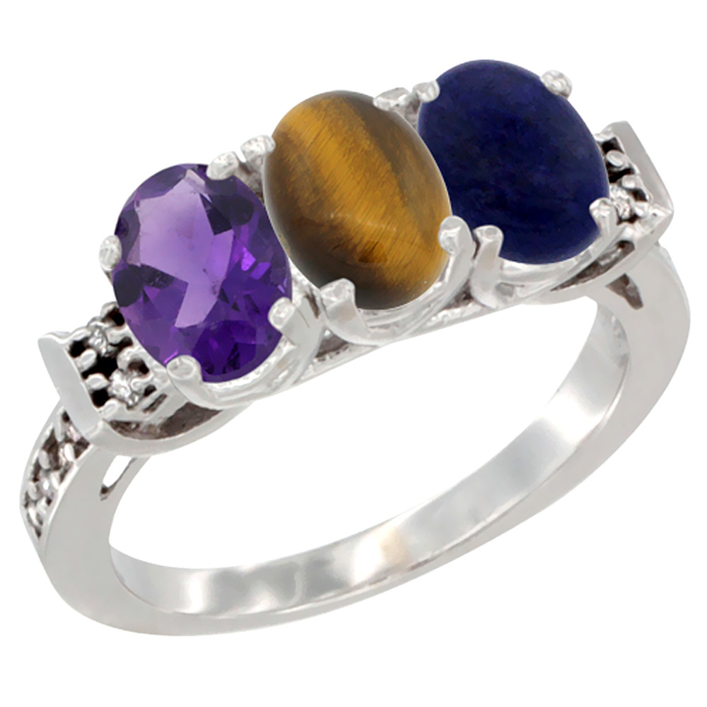 10K White Gold Natural Amethyst, Tiger Eye & Lapis Ring 3-Stone Oval 7x5 mm Diamond Accent, sizes 5 - 10