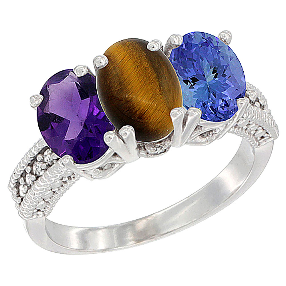 14K White Gold Natural Amethyst, Tiger Eye & Tanzanite Ring 3-Stone 7x5 mm Oval Diamond Accent, sizes 5 - 10