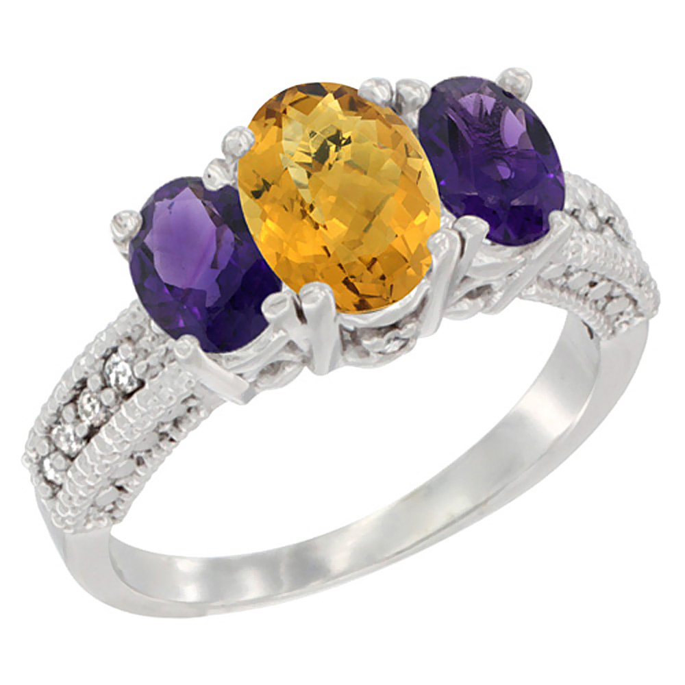 14k Yellow Gold Ladies Oval Natural Whisky Quartz 3-Stone Ring with Amethyst Sides Diamond Accent