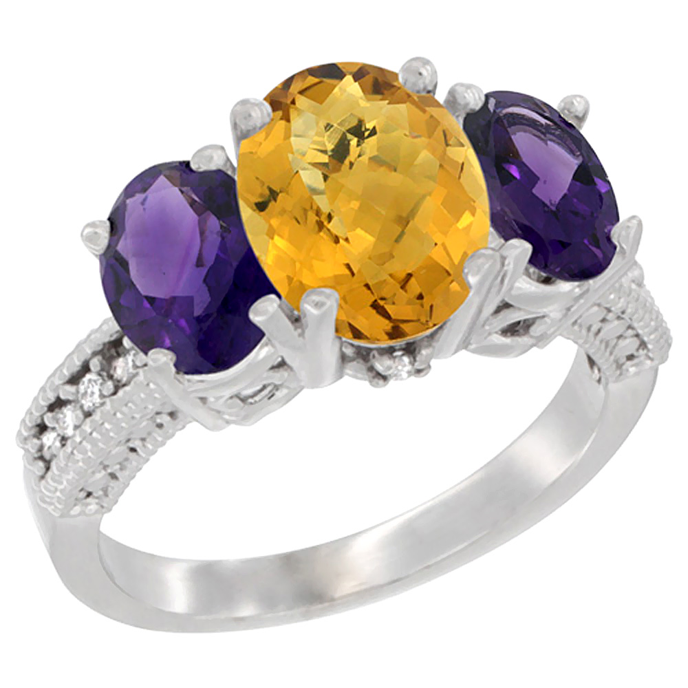 10K White Gold Natural Whisky Quartz Ring Ladies 3-Stone Oval 8x6mm with Amethyst Sides Diamond Accent, sizes 5 - 10