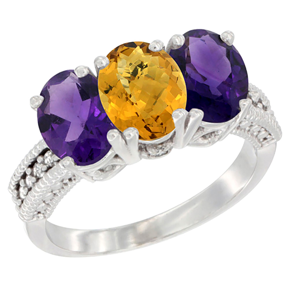 14K White Gold Natural Whisky Quartz & Amethyst Ring 3-Stone 7x5 mm Oval Diamond Accent, sizes 5 - 10