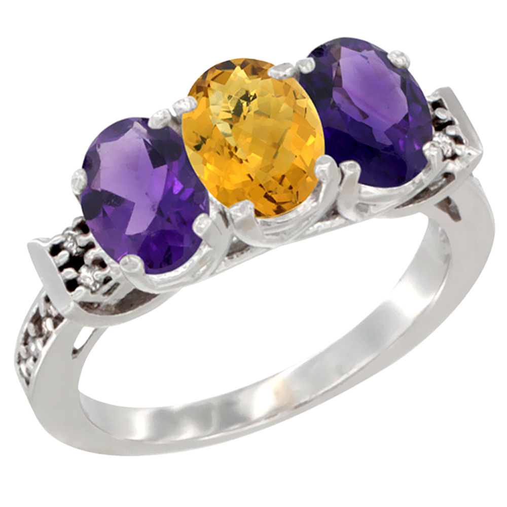 10K White Gold Natural Whisky Quartz & Amethyst Sides Ring 3-Stone Oval 7x5 mm Diamond Accent, sizes 5 - 10