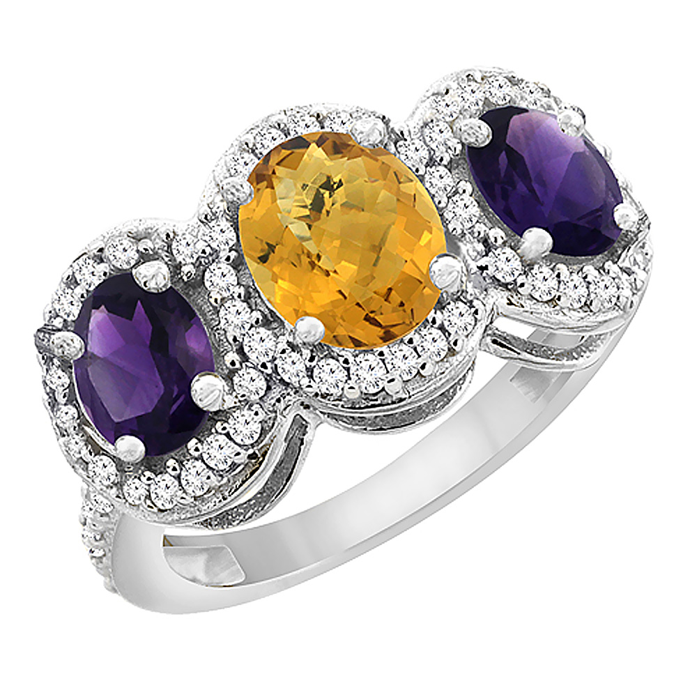14K White Gold Natural Whisky Quartz & Amethyst 3-Stone Ring Oval Diamond Accent, sizes 5 - 10