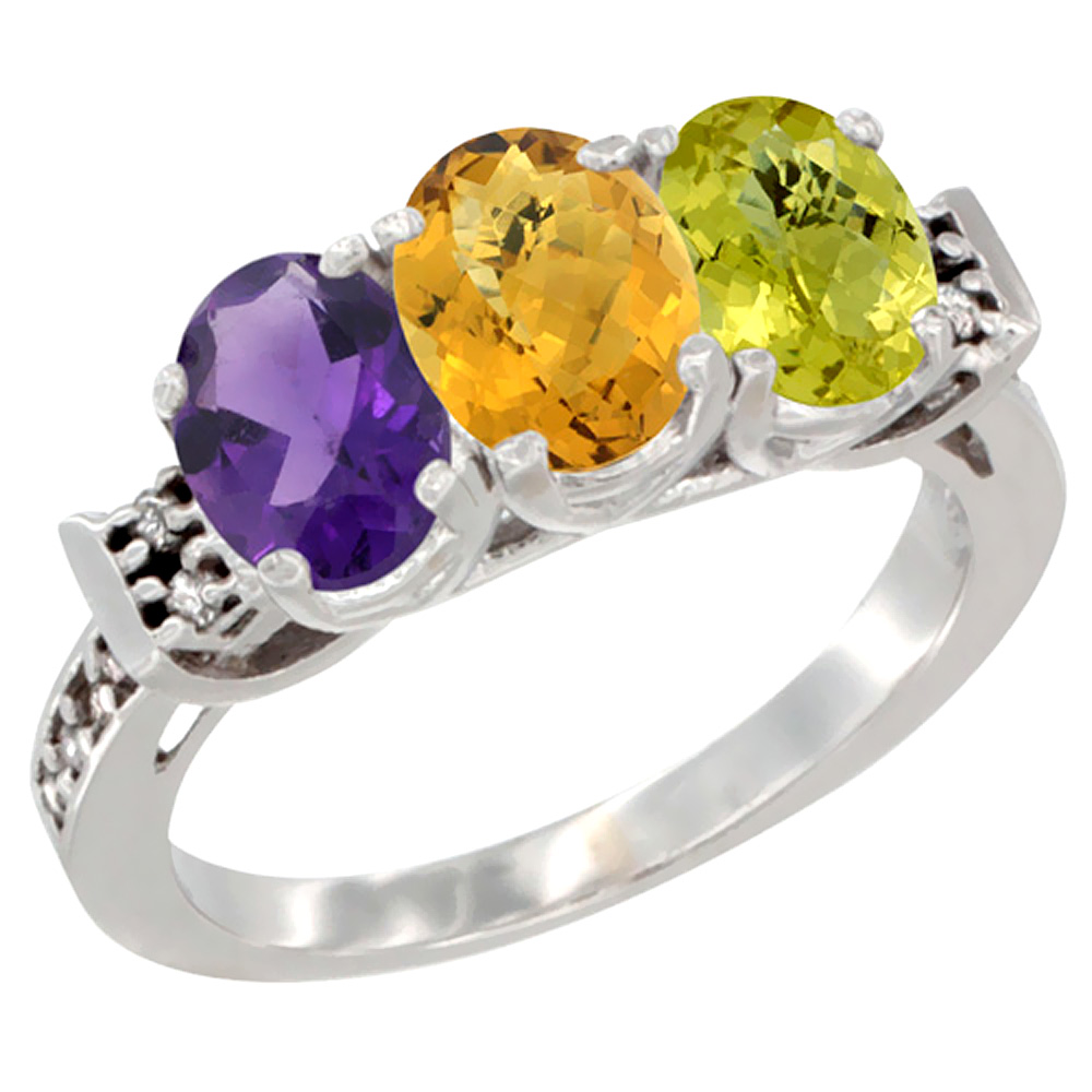 10K White Gold Natural Amethyst, Whisky Quartz & Lemon Quartz Ring 3-Stone Oval 7x5 mm Diamond Accent, sizes 5 - 10