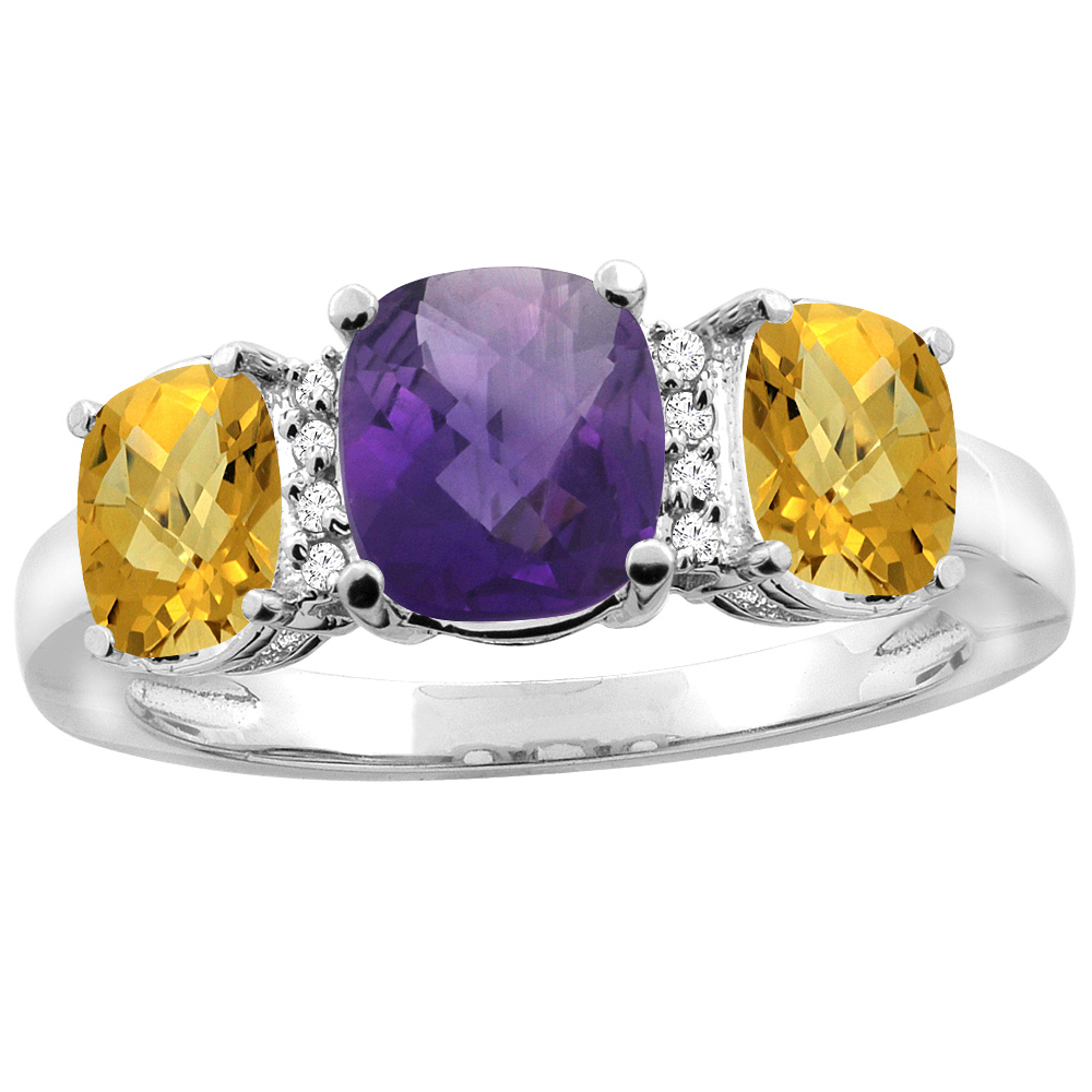 10K White Gold Natural Amethyst & Whisky Quartz 3-stone Ring Cushion 8x6mm Diamond Accent, sizes 5 - 10