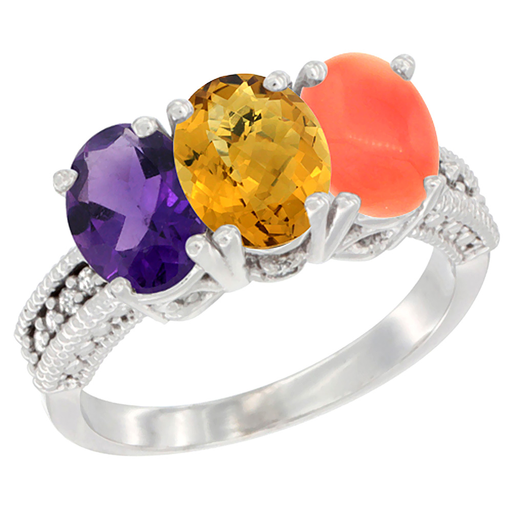 10K White Gold Natural Amethyst, Whisky Quartz & Coral Ring 3-Stone Oval 7x5 mm Diamond Accent, sizes 5 - 10